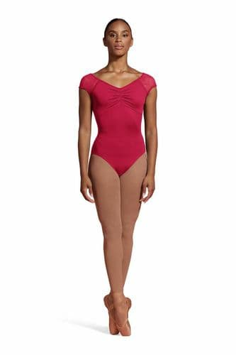 Mirella by Bloch Ladies Pleated Bodice Lace Cap Sleeves Leotard M5096LM Pink